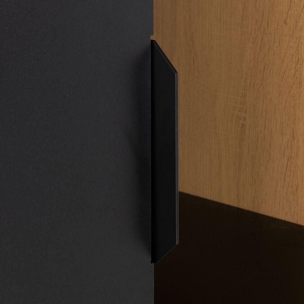 Armoire 1 porte bois clair et métal noir H221cm-HENRY