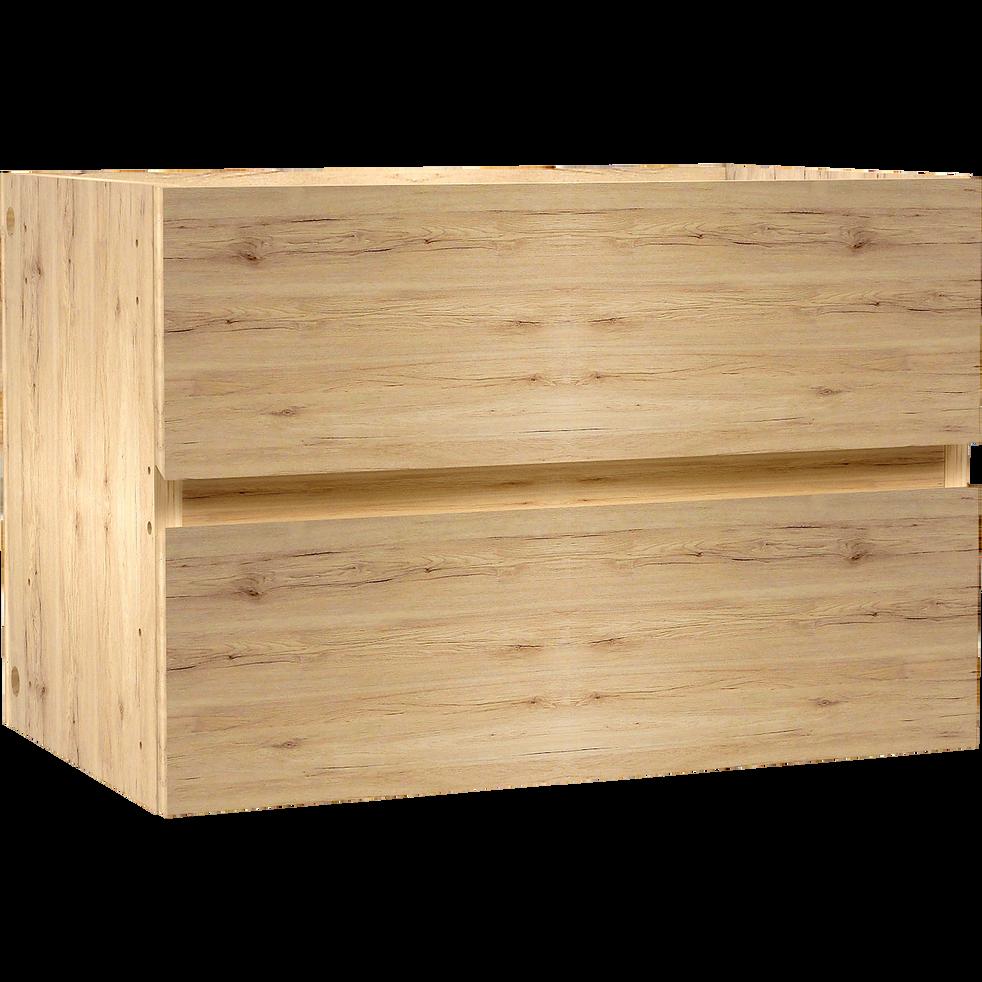 Bloc 2 tiroirs coloris chêne pour meuble à cases L52cm-BRIK