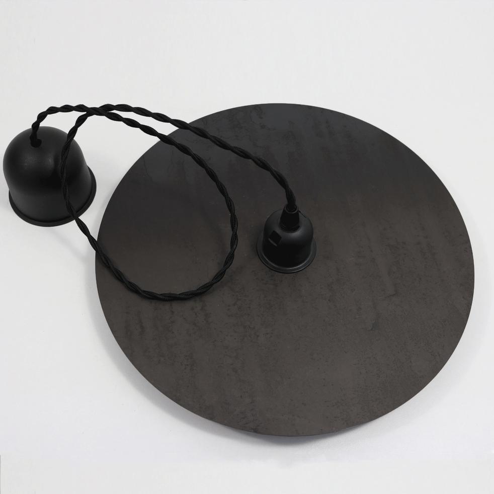 Suspension disque D30cm en acier et câble torsadé noir vieilli H80cm-DISQUE
