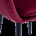 Chaise capitonnée en velours rouge sumac avec accoudoirs-SHELL