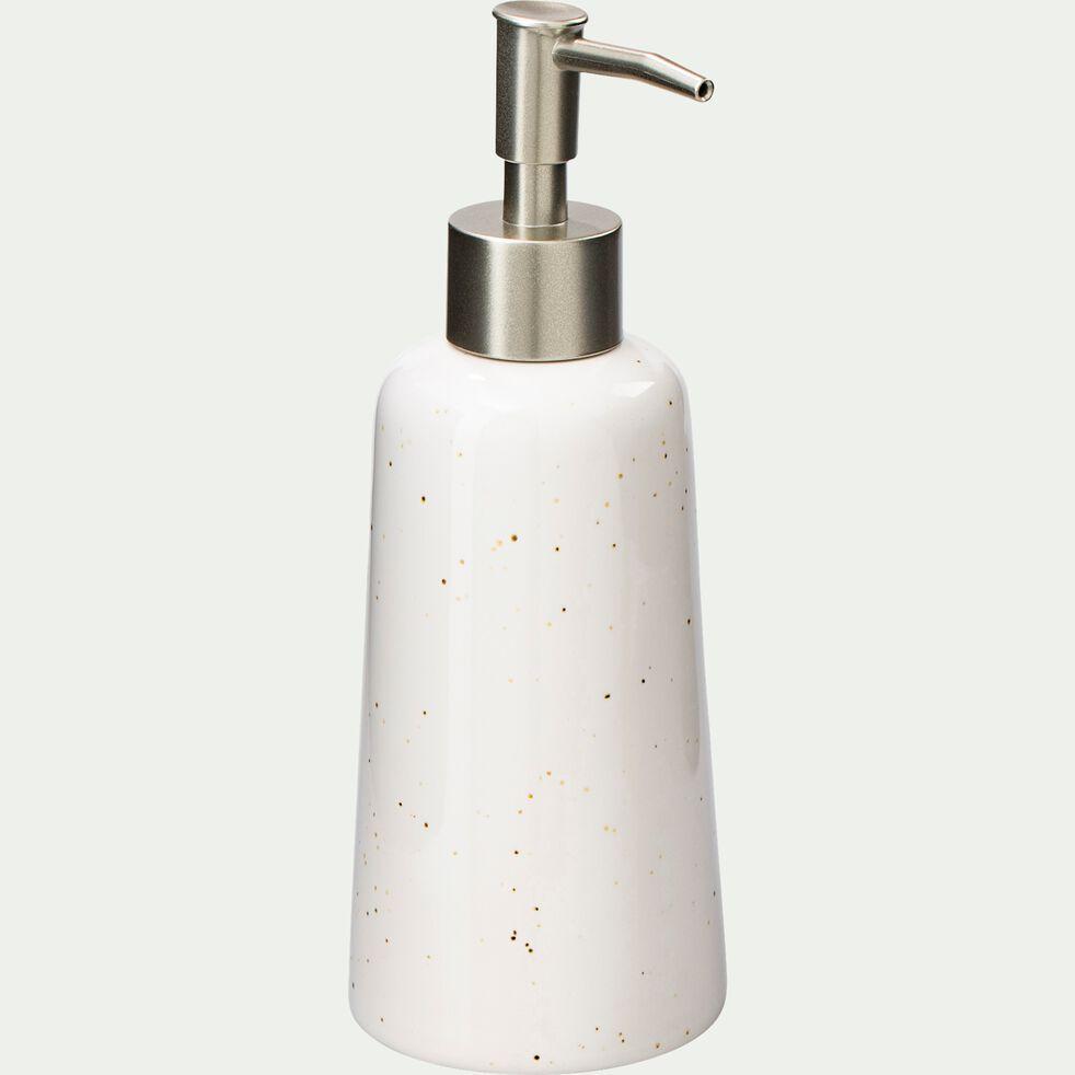 Distributeur de savon en céramique mouchetée - blanc ventoux-NEOULES
