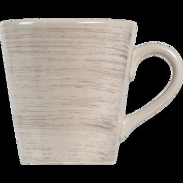 Mug en faïence blanche effet patiné-GASTON