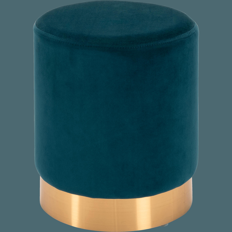 Genial Pouf En Velours Petit Modèle Bleu Figuerolles D35cm AUVE