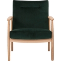 Fauteuil en chêne et velours vert foncé-ANTON
