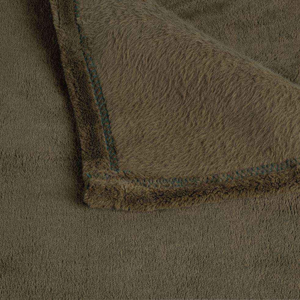 Plaid effet polaire en polyester - vert cèdre 180x220cm-ROBIN
