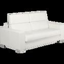 Canapé 3 places convertible en cuir de buffle blanc-Mauro