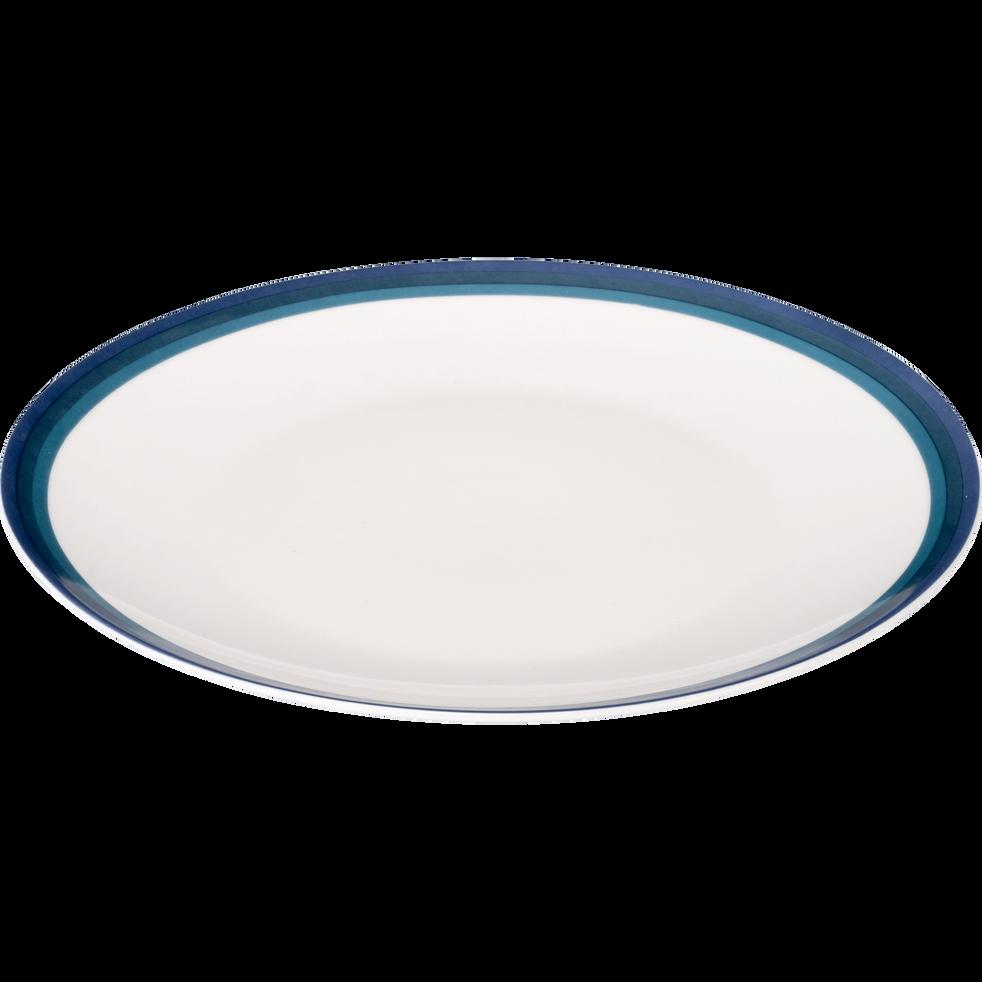 Assiette plate en porcelaine motif dégradé bleu figuerolles D26.5cm-VIC