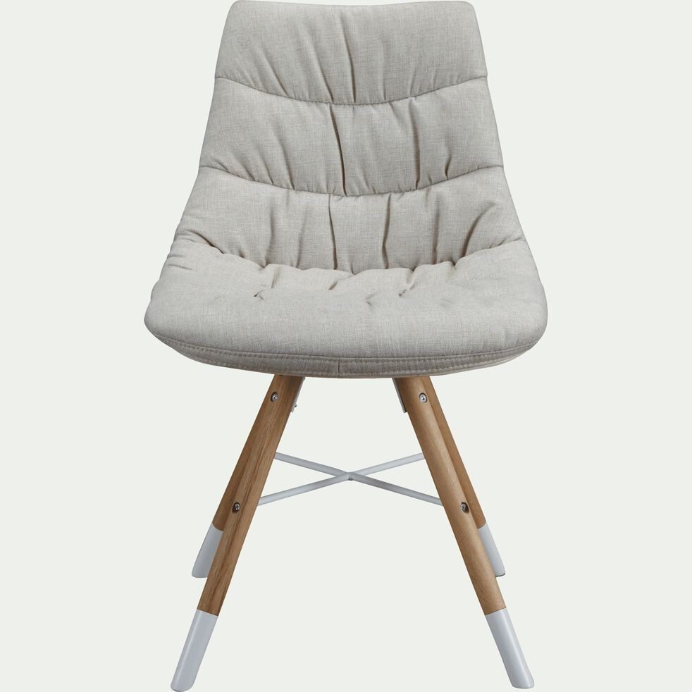 Chaise matelassée en tissu beige-JOY
