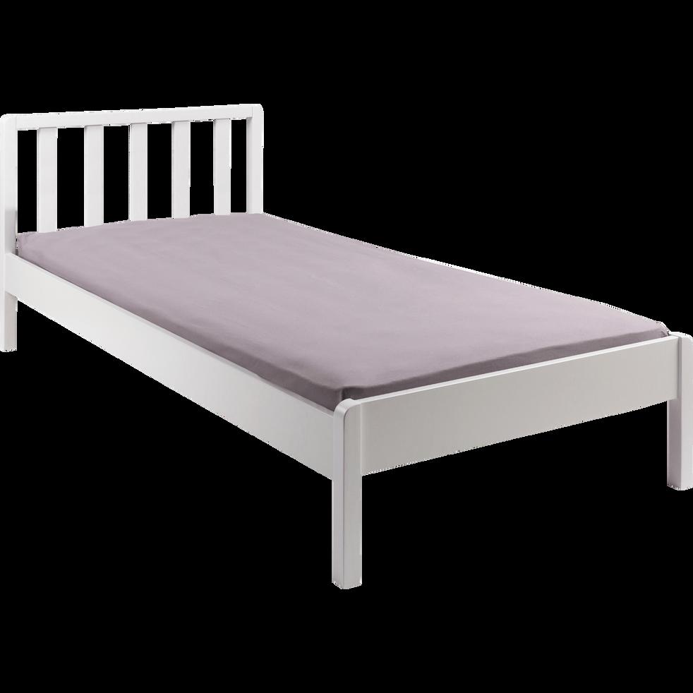 Lit 1 place en bois avec tête de lit à barreaux Blanc capelan - 90x200 cm-JAUME