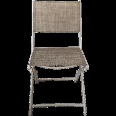 Chaise De Jardin Pliante Gris Clair En Polyester LEMON