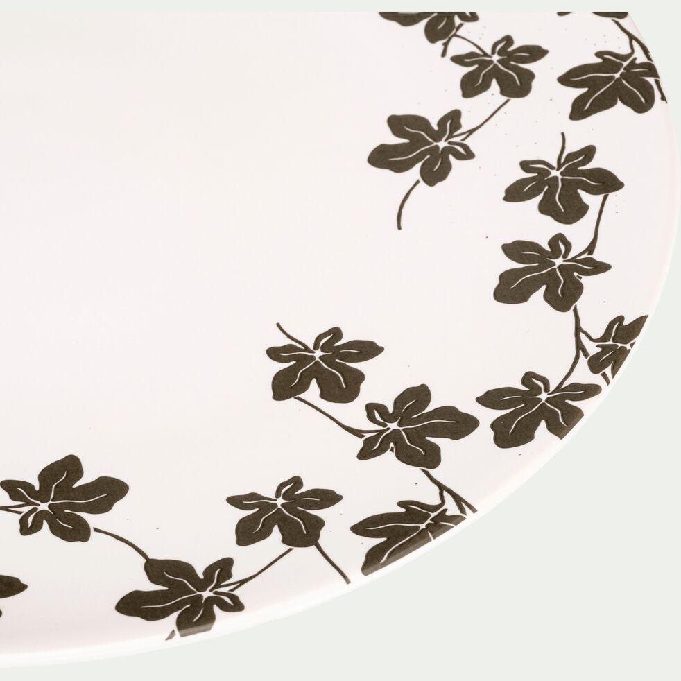 Assiette à dessert en porcelaine blanc à motifs feuilles de figuier D21,5cm-FIGUIER