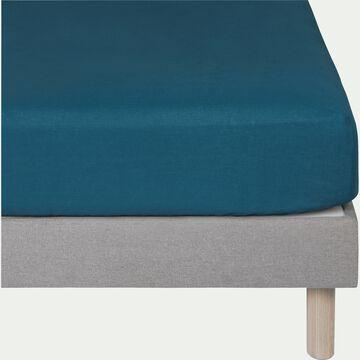 Drap housse en lin - bleu figuerolles 90X200cm B28cm-VENCE