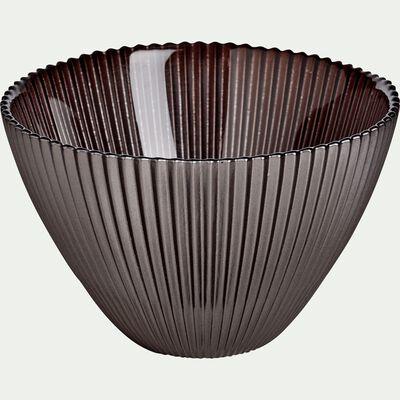 Coupelle en verre strié gris foncé D14.5cm-SUPERBE