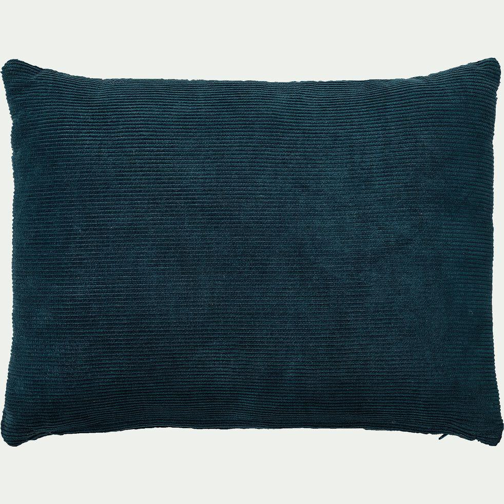 Coussin rectangle en velours côtelé 30x40cm - bleu figuerolles-Colombine