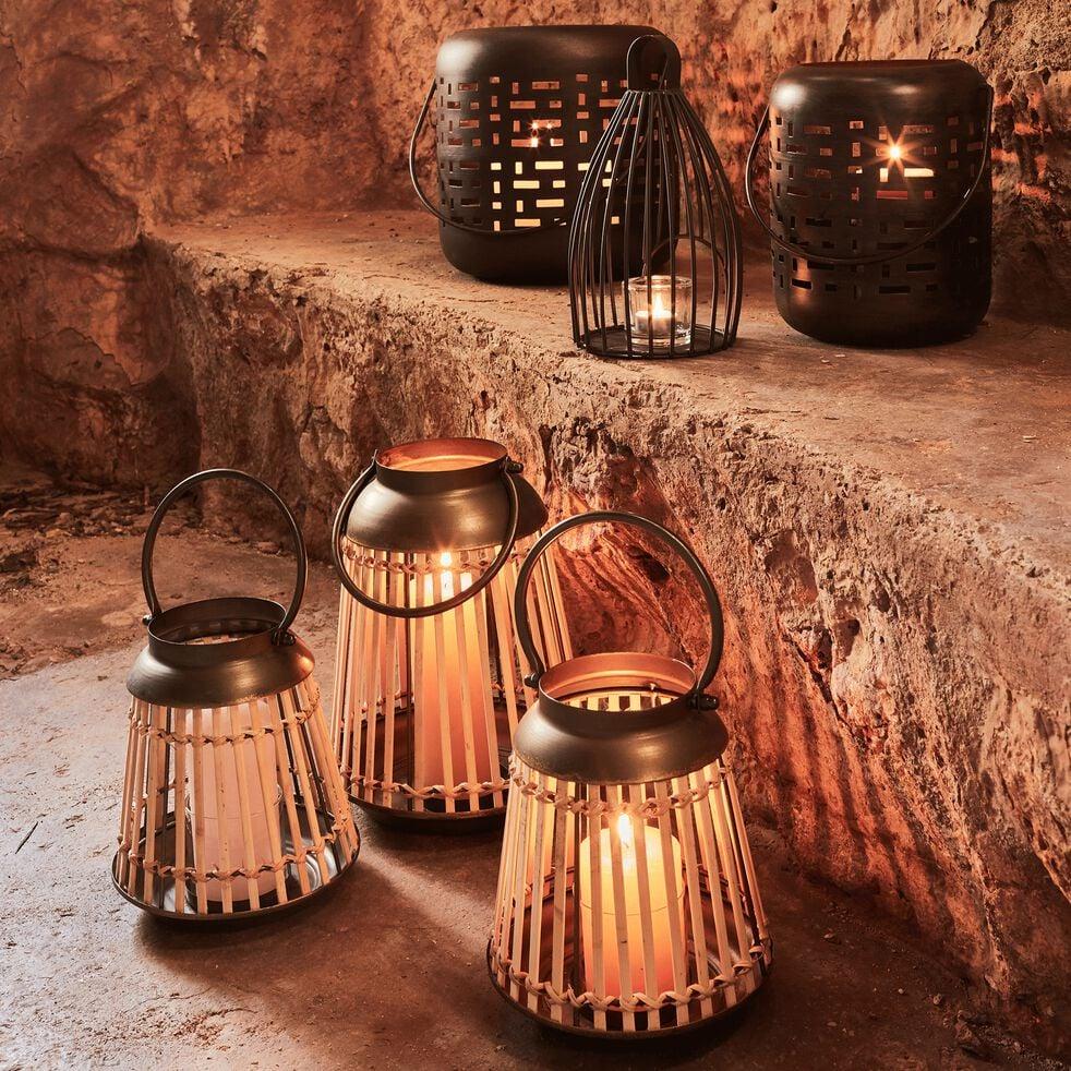 Lanterne en bambou et métal H31cm-ALTA