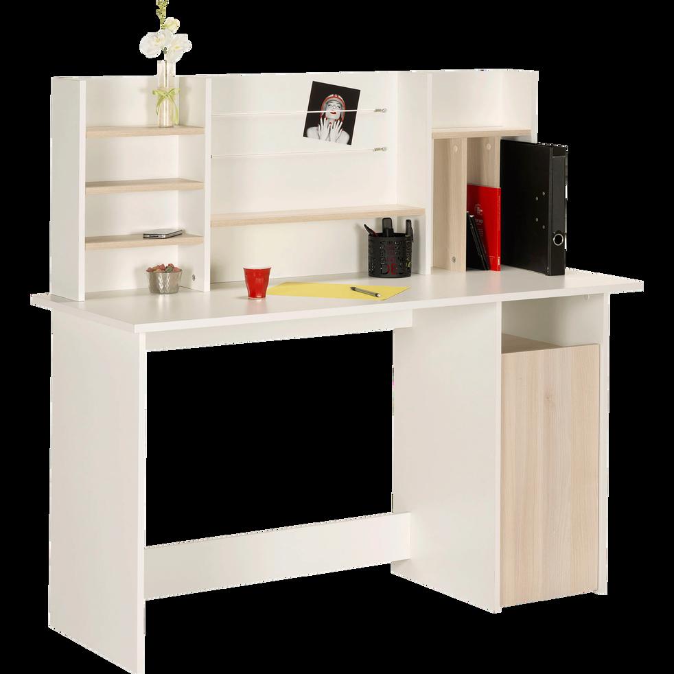 bureau blanc et effet ch ne avec tag res ambre. Black Bedroom Furniture Sets. Home Design Ideas
