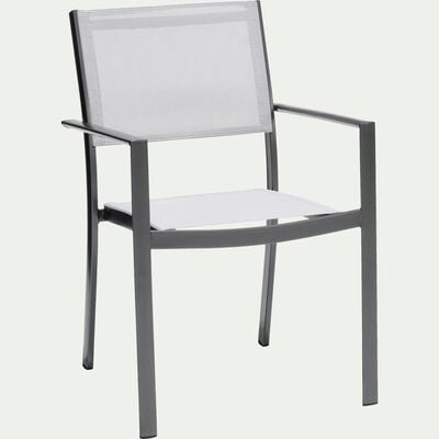Chaise de jardin empilable en PVC avec accoudoirs gris-ALARO