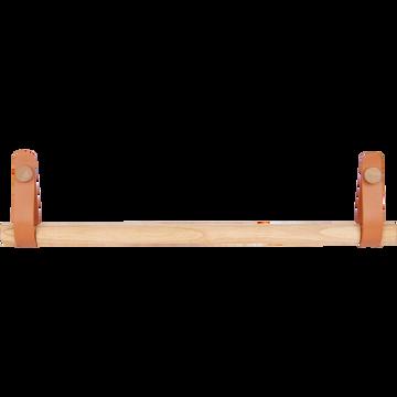 Porte serviette barre bois et cuir-BRINDO