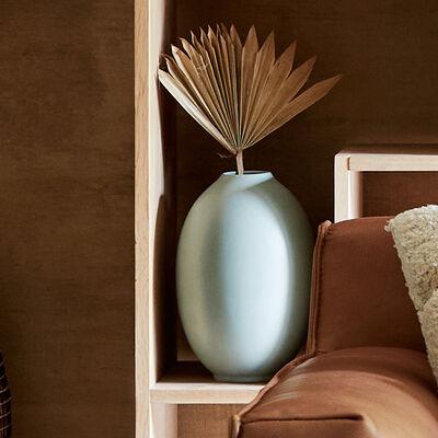Vase ovale en faïence - bleu niolon H30cm-AGLIA