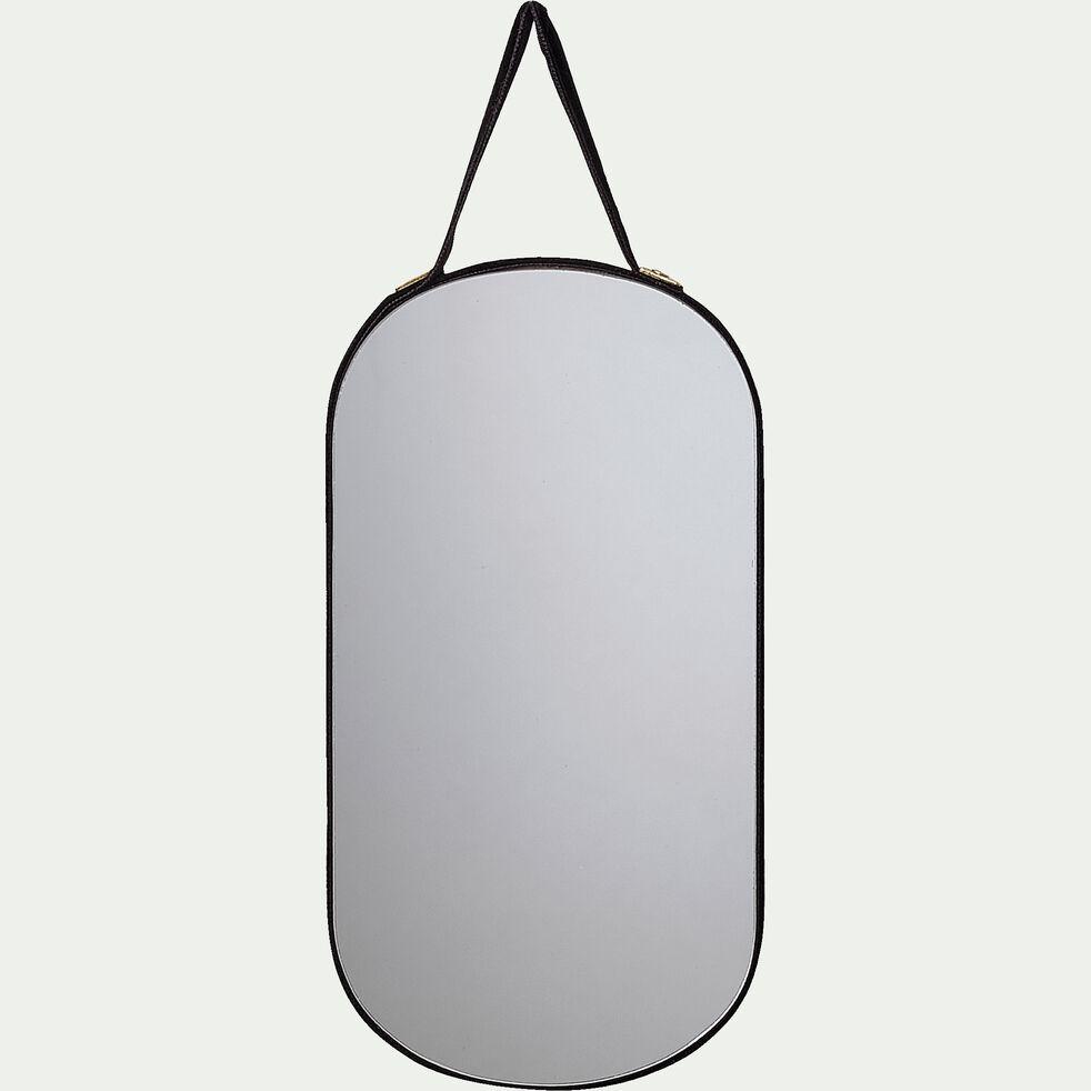 Miroir mural ovale en velours - noir 16x8cm-BELISSO