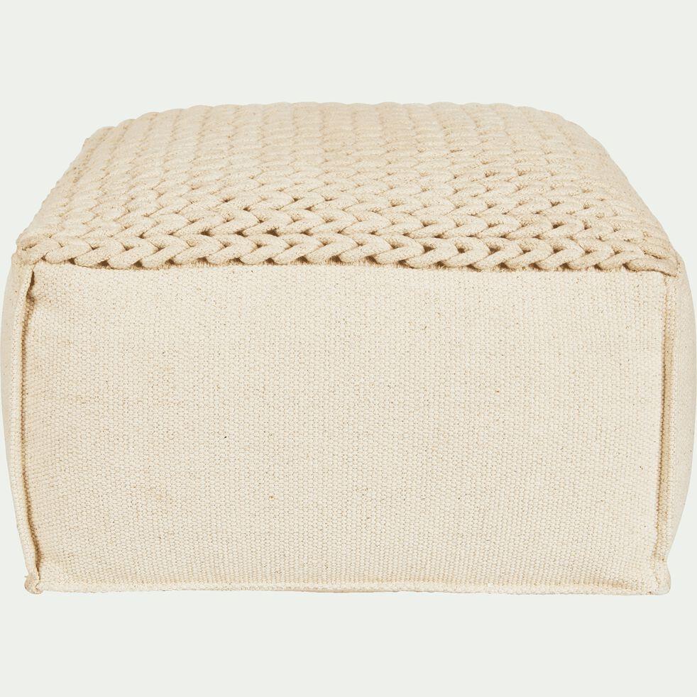 Pouf cubique en coton - beige D10xH10cm - IAN - coussin de sol et