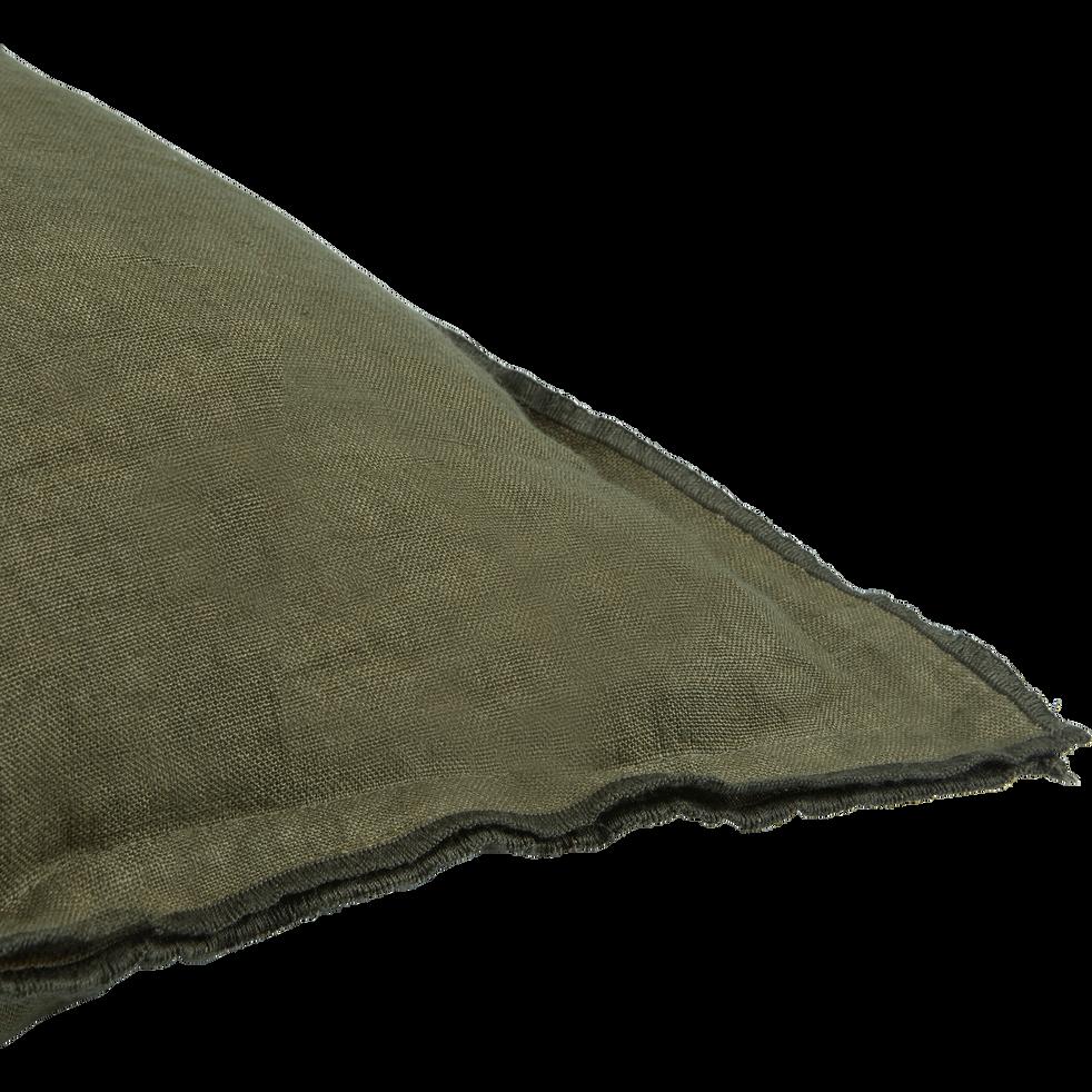 Coussin à volants en lin vert 45x45cm-VENCE