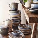 Assiette creuse en porcelaine motifs laurier - gris D21cm-AIX
