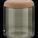 Boîte en verre vert cèdre et couvercle en bois-Astaki