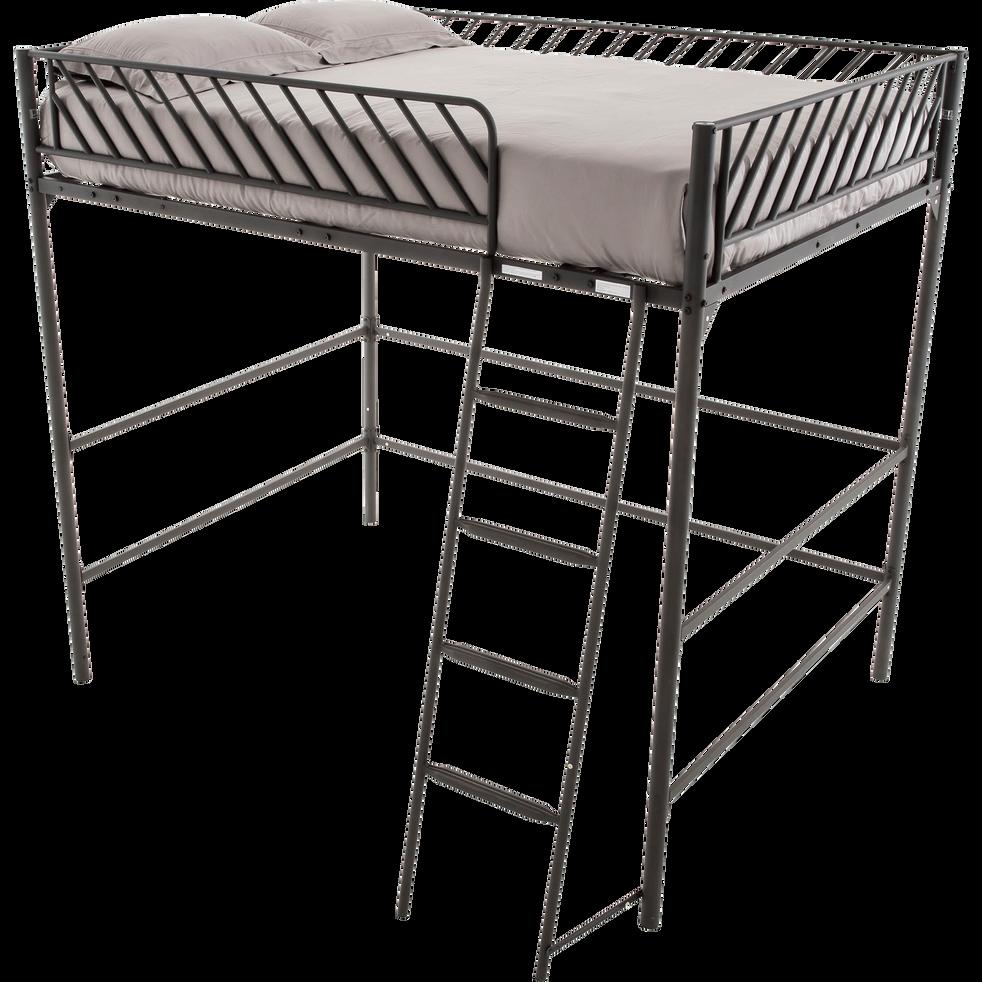 lit mezzanine 2 places en m tal noir 140x190 cm slash 140x190 cm lits mezzanine alinea. Black Bedroom Furniture Sets. Home Design Ideas