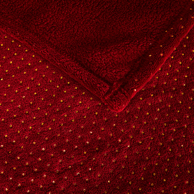 Plaid doux rouge sumac à pois dorés 130x170cm-CONSTELLE
