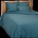 Housse de couette en satin 240x220cm motif fleurs de jasmin - bleu-SOUN