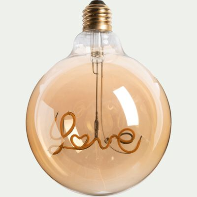 Ampoule décorative LED ambre D12,5cm culot E27-LOVE