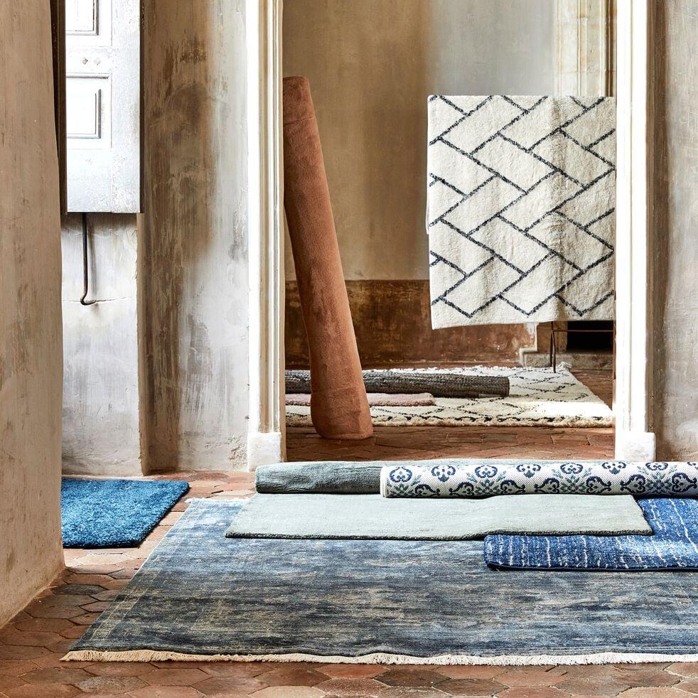 Tapis à franges inspiration berbère - blanc écru 160x230cm-ALINE
