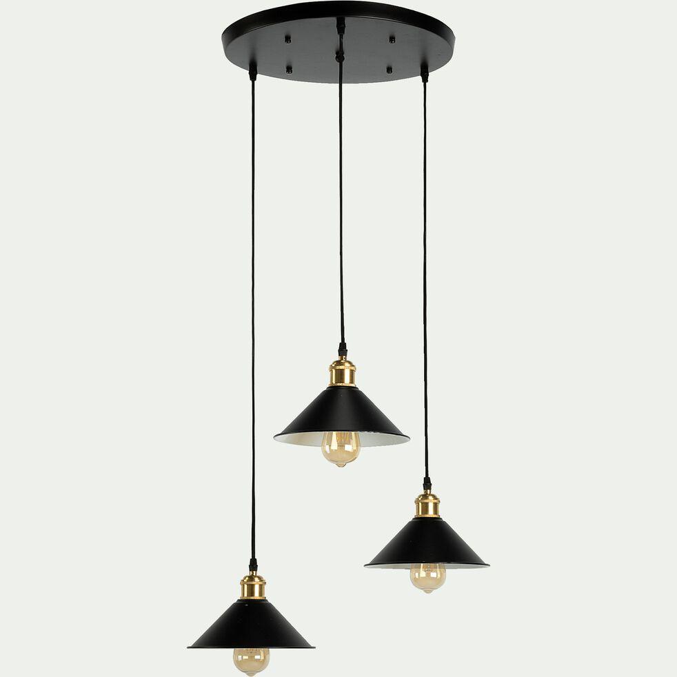 Suspension 3 lampes en métal D35xH100cm - noir-GIULIAN