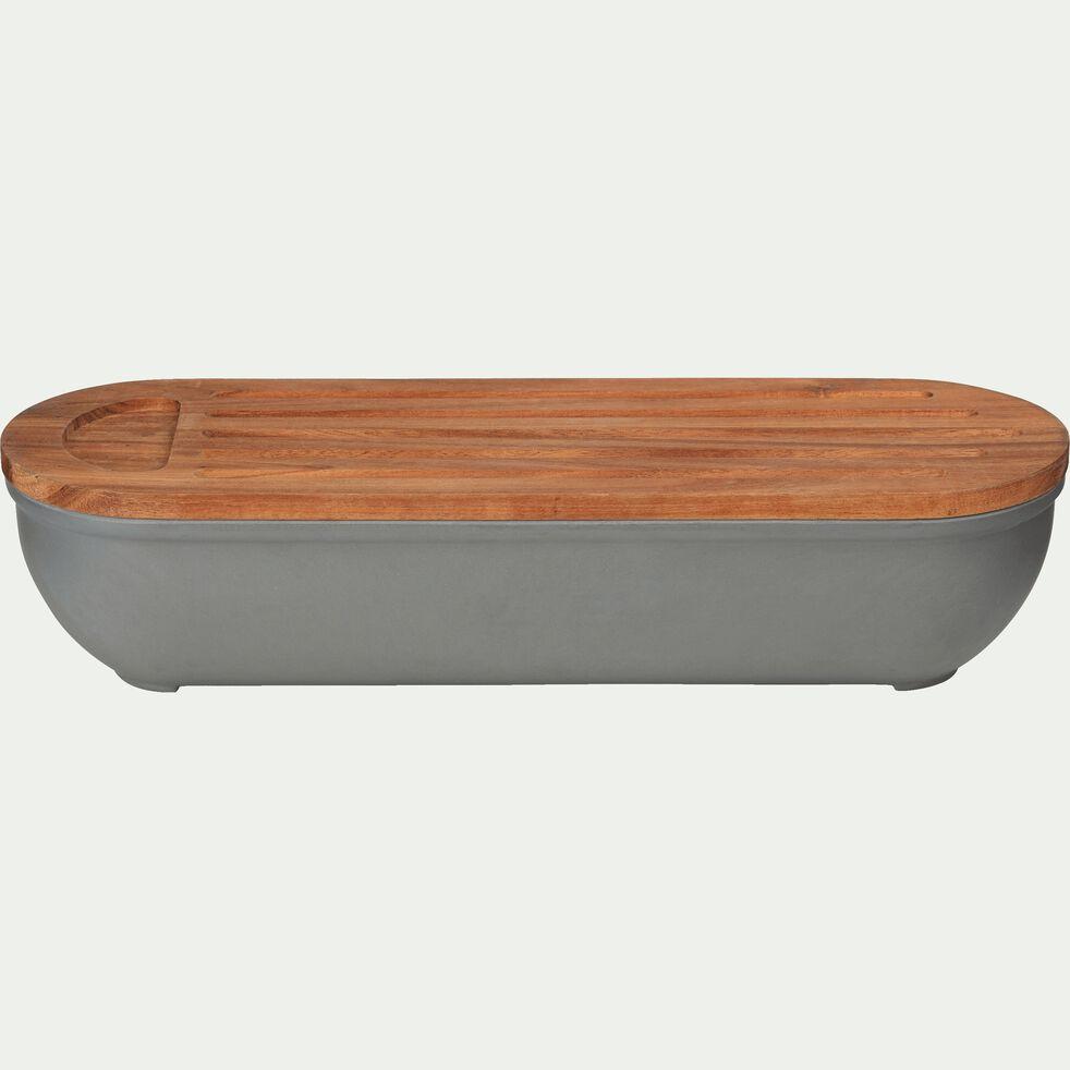 Boîte à pain en bambou gris restanque-FOUGAS