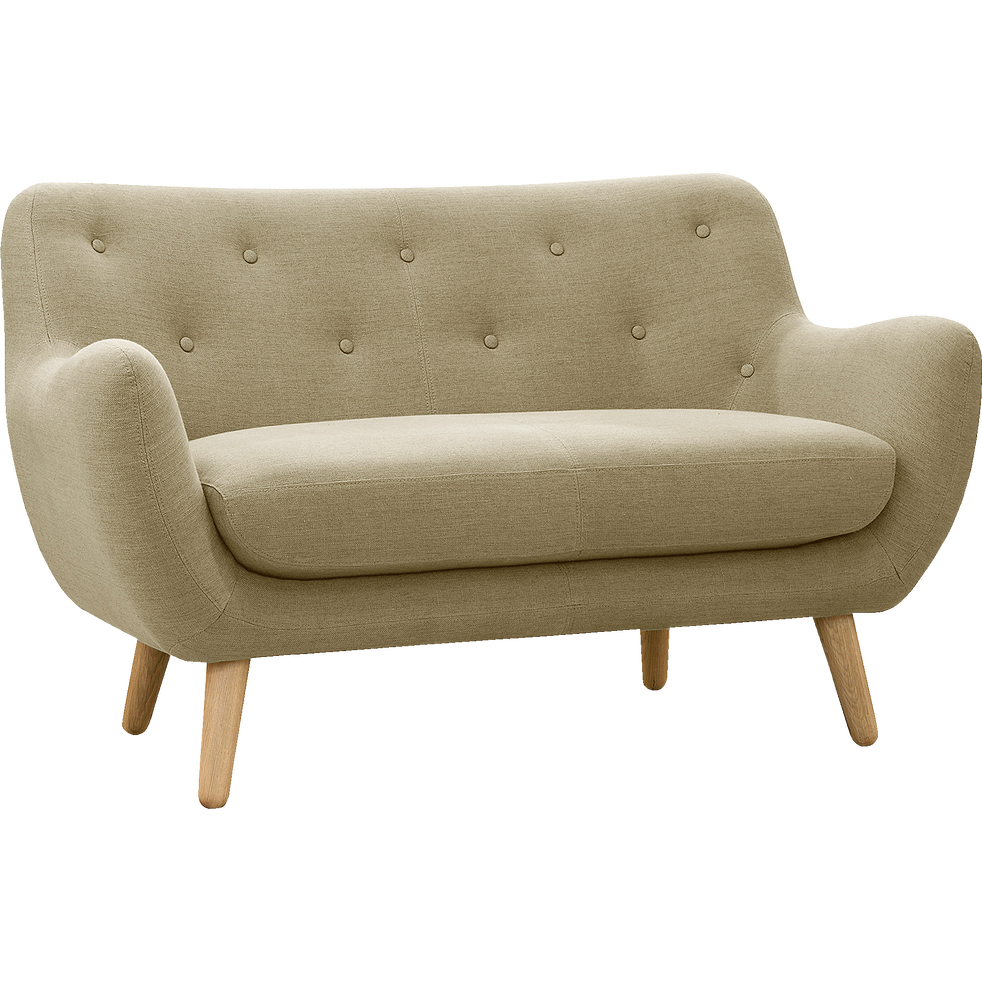 canap 2 places fixe beige poppy canap s droits en tissu alinea. Black Bedroom Furniture Sets. Home Design Ideas
