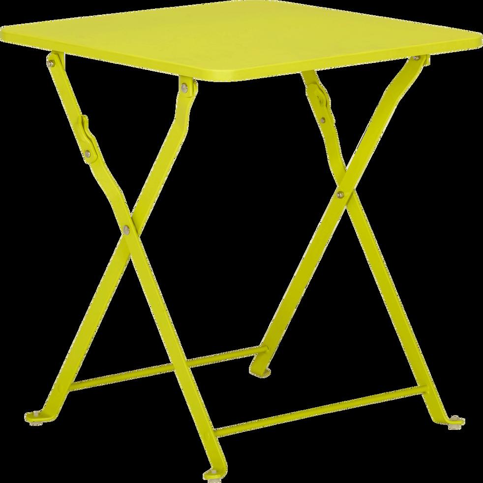 Ted - Table basse de jardin pliante verte en acier