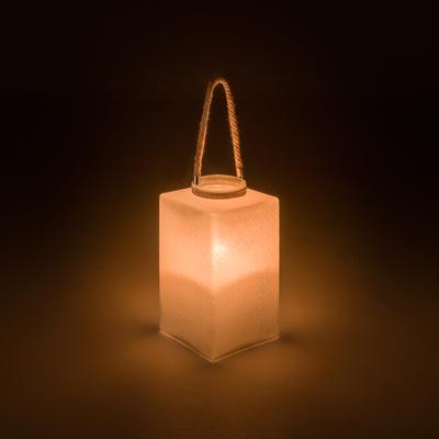 Lanterne en verre beige H34xD20cm-BEJA