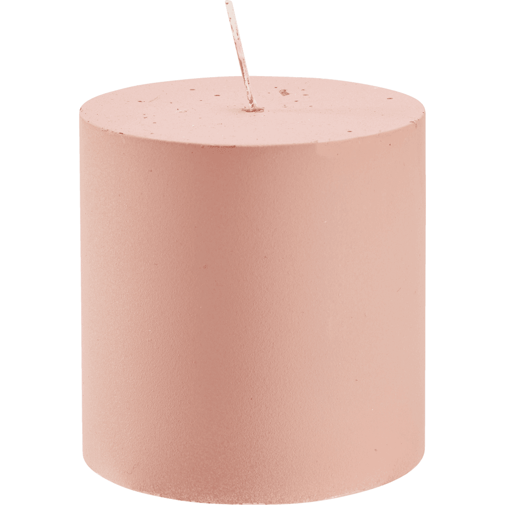 Bougie mate rose D7xH7 cm-RIGUEL