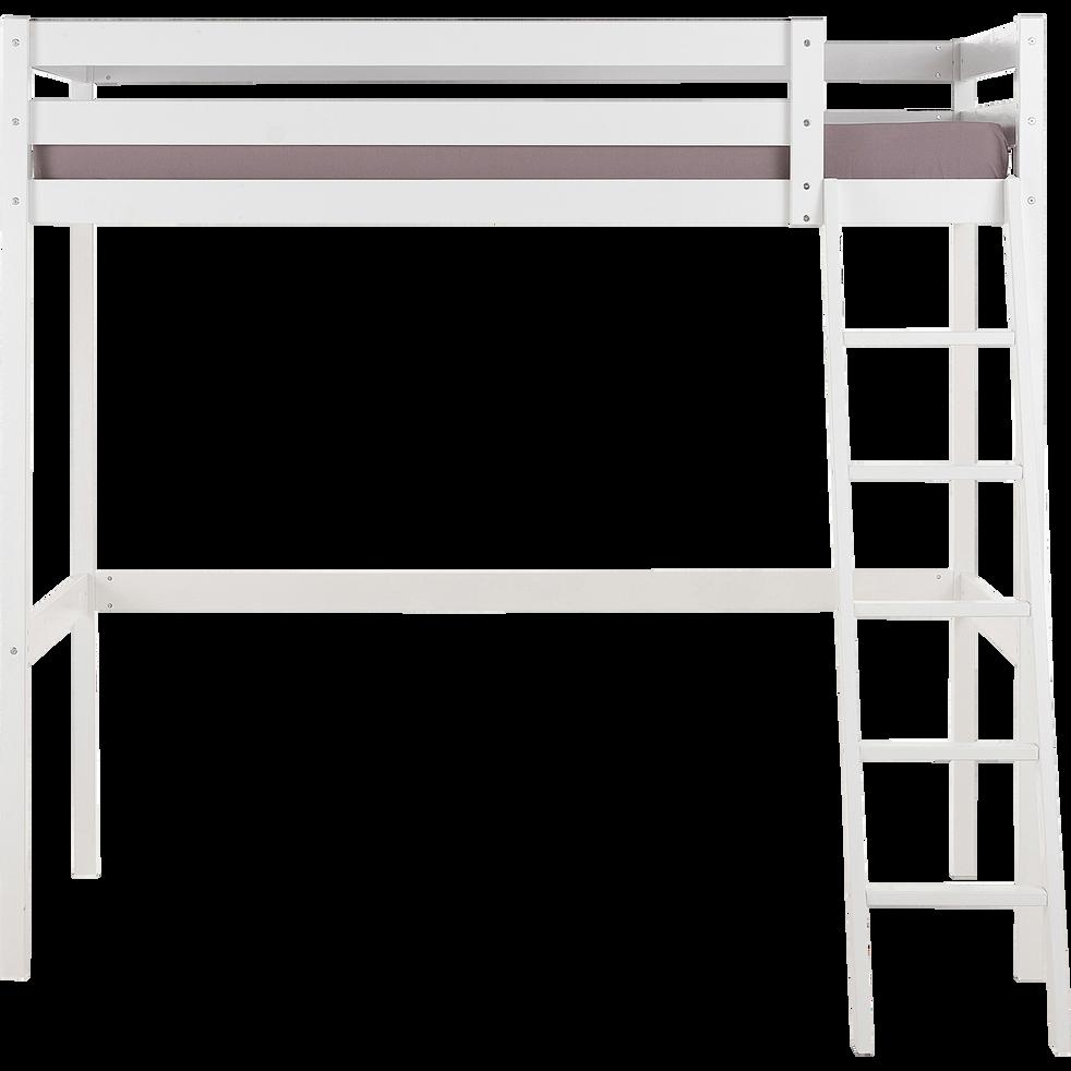 Lit mezzanine blanc 90x200cm épaisseur max 19cm-SPIGAOU