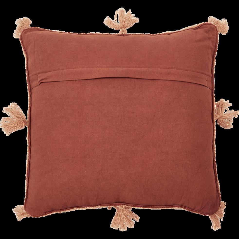 Housse de coussin 45x45 cm en coton avec pompons Marron-ILIES