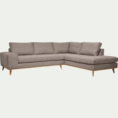 Canapé d'angle fixe droit en tissu -beige argile-PICABIA