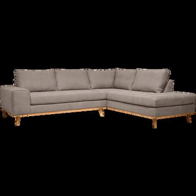Canapé d'angle fixe droit en tissu argile-PICABIA