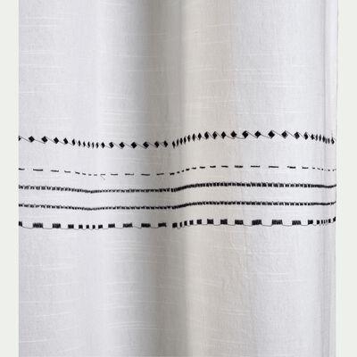 Rideau en coton blanc brodé noir 140x250 cm-Medine