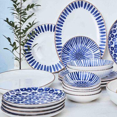 Gamme de vaisselle en faïence blanc et bleu-PORTO