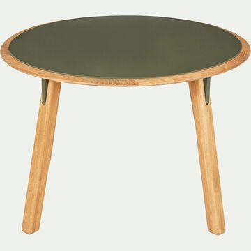 Table basse ronde en chêne massif et métal vert cèdre-GIZIO