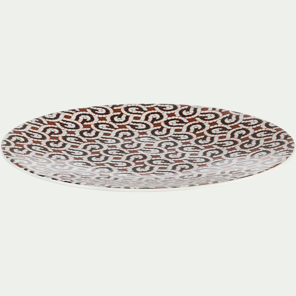 Assiette plate en grès rouge D27cm-MOSAIQUE