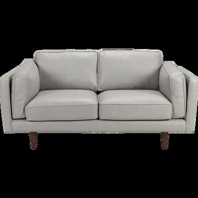Canapé 2 places fixe en cuir gris restanque-BROOKLYN