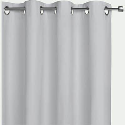 Rideau à œillets en coton - gris borie 140x250cm-CALANQUES