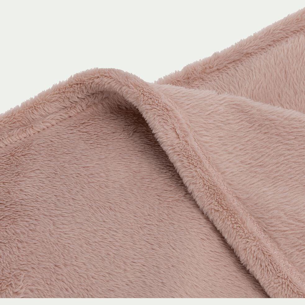 Plaid effet polaire en polyester - rose rosa 180x220cm-ROBIN